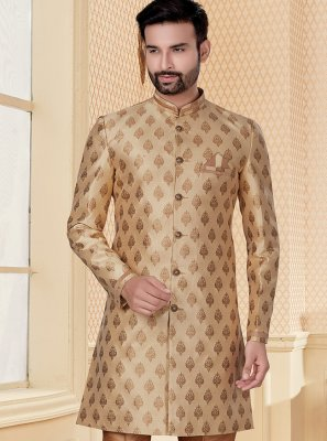 Jacquard Embroidered Indo Western in Beige