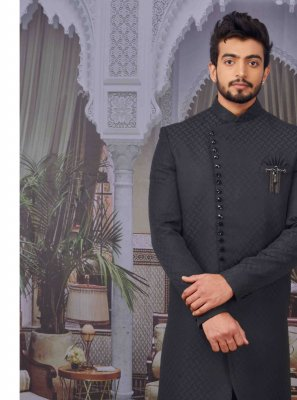 Jacquard Embroidered Indo Western in Black