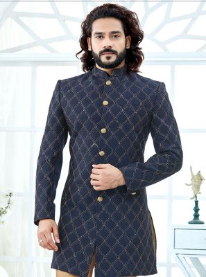 Jacquard Embroidered Indo Western in Blue