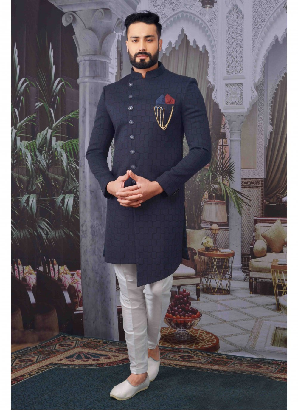 Jacquard Embroidered Indo Western in Navy Blue