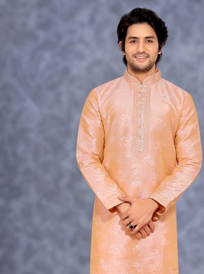 Jacquard Embroidered Kurta Pyjama in Peach