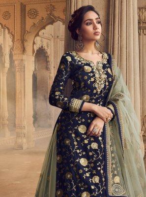 Jacquard Embroidered Long Choli Lehenga in Navy Blue