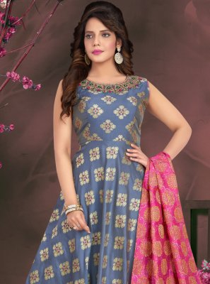 Jacquard Fancy Blue Readymade Suit