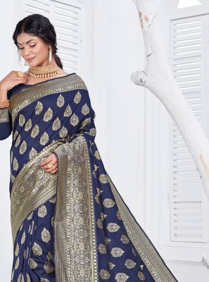 Jacquard Fancy Classic Designer Saree in Navy Blue