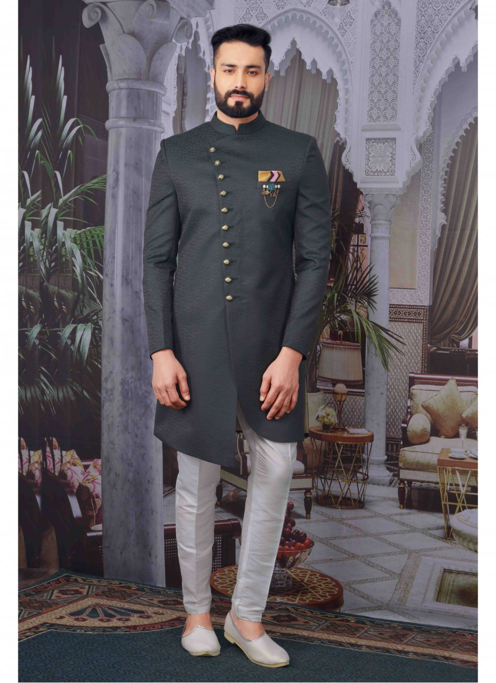 Jacquard Green Embroidered Indo Western