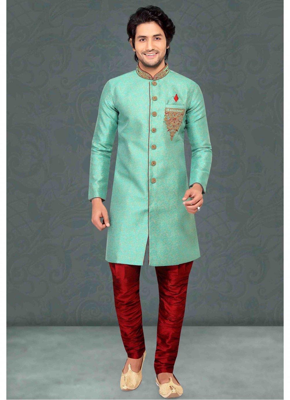 Jacquard Green Embroidered Kurta Pyjama