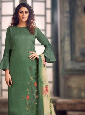 Jacquard Green Embroidered Trendy Salwar Kameez