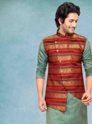 Jacquard Green Plain Kurta Payjama With Jacket