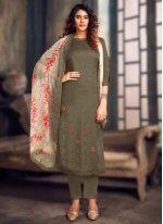 Jacquard Grey Bollywood Salwar Kameez