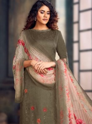 Jacquard Grey Bollywood Salwar Kameez