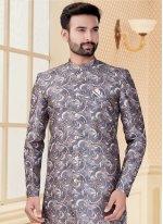 Jacquard Grey Printed Indo Western