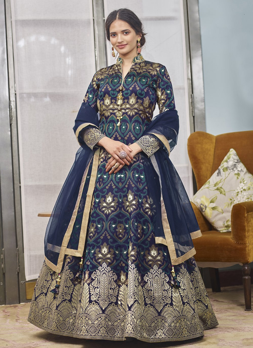 Jacquard Handwork Navy Blue Readymade Anarkali Salwar Suit