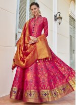 Jacquard Hot Pink Readymade Anarkali Suit