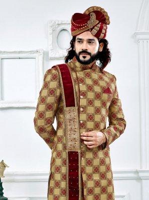 Jacquard Jacquard Work Gold and Maroon Sherwani