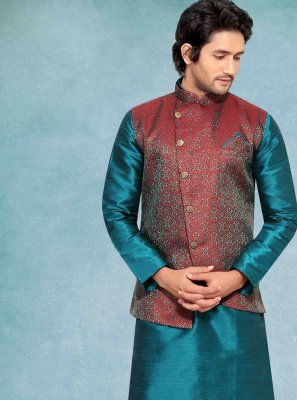 Jacquard Kurta Payjama With Jacket in Green