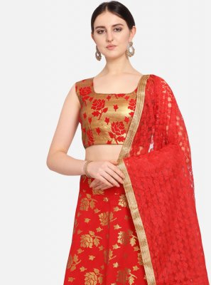 Jacquard Lehenga Choli in Red