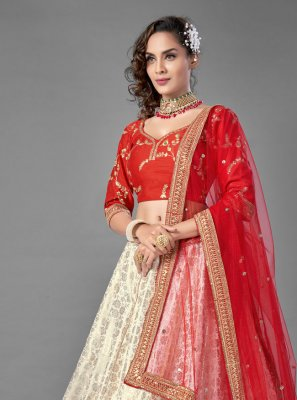 Jacquard Lehenga Choli in Red and White