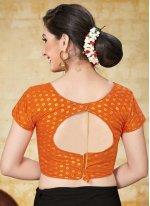 Jacquard Orange Printed Designer Blouse