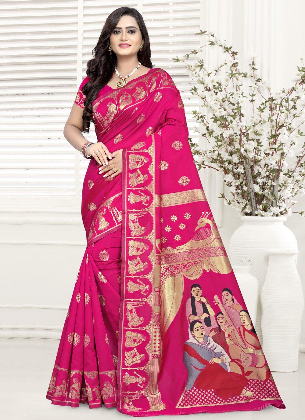 Jacquard Pink Printed Trendy Saree