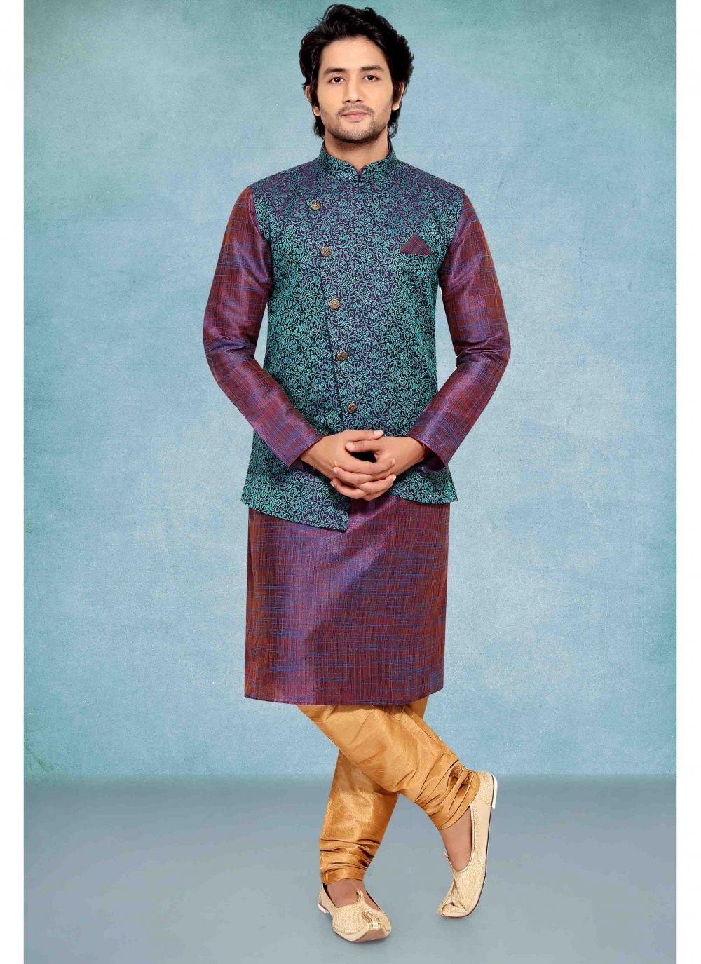 Jacquard Plain Purple Kurta Payjama With Jacket