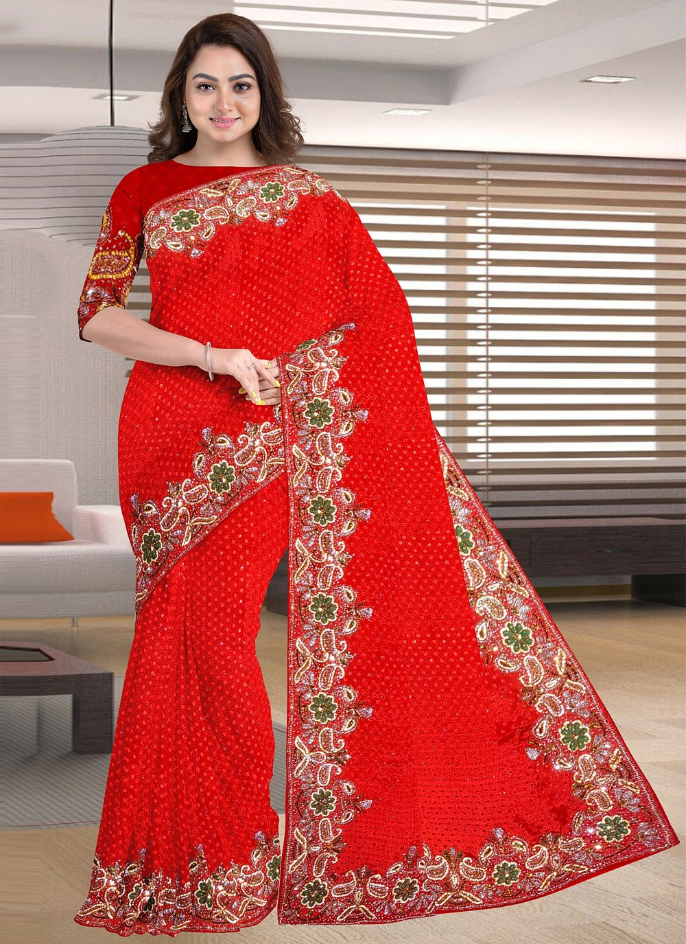 Jacquard Red Embroidered Designer Traditional Saree