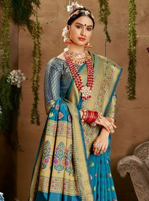 Jacquard Silk Blue Designer Saree