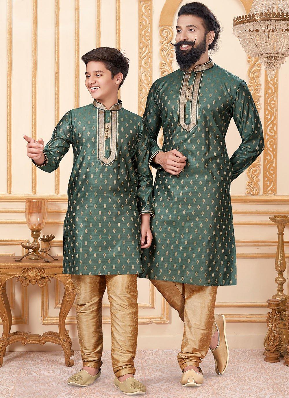 Jacquard Silk Butta Kurta Pyjama in Green