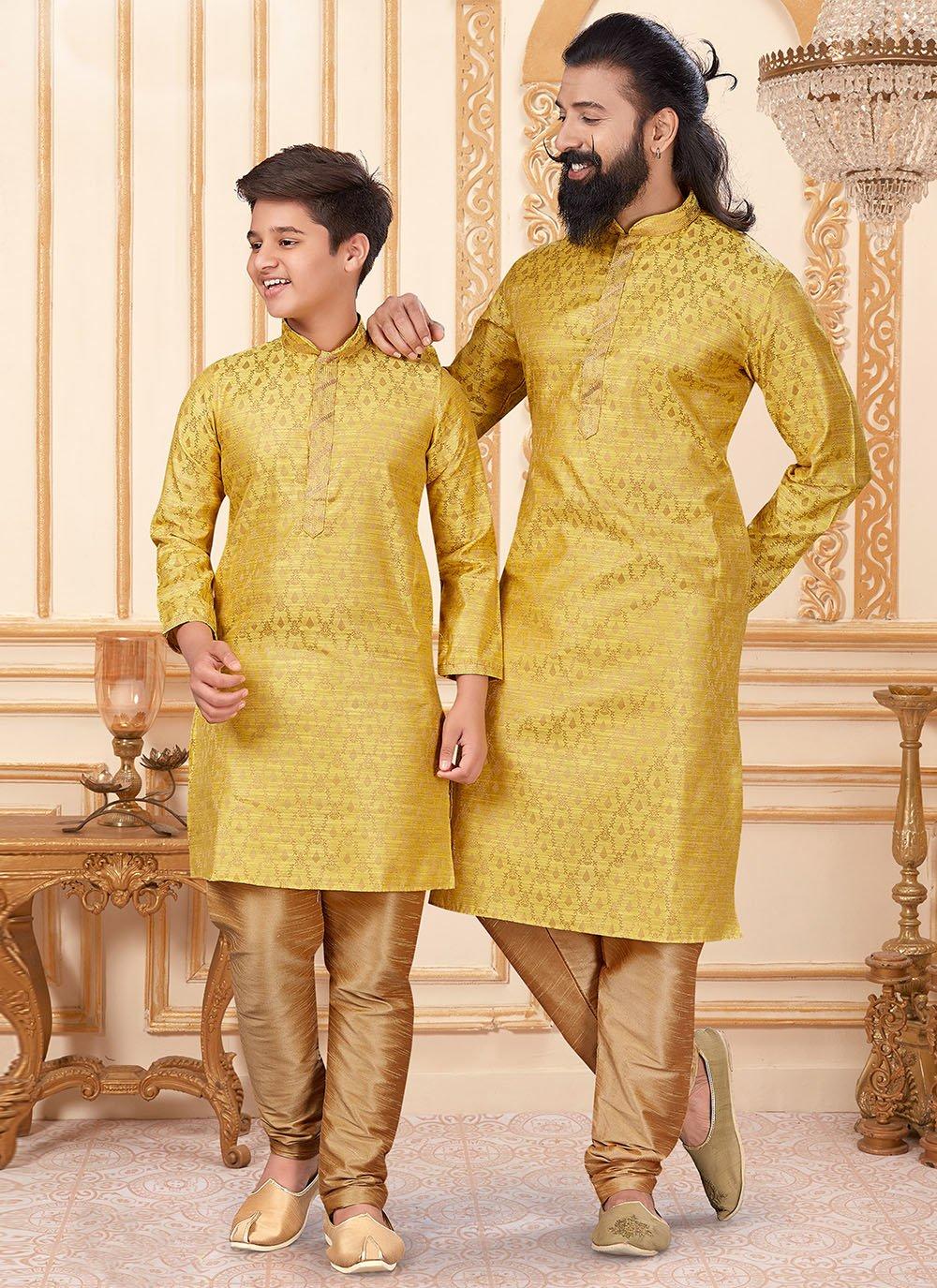 Jacquard Silk Butta Kurta Pyjama in Yellow