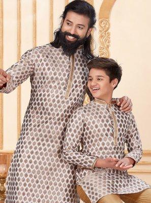 Jacquard Silk Butta Off White Kurta Pyjama