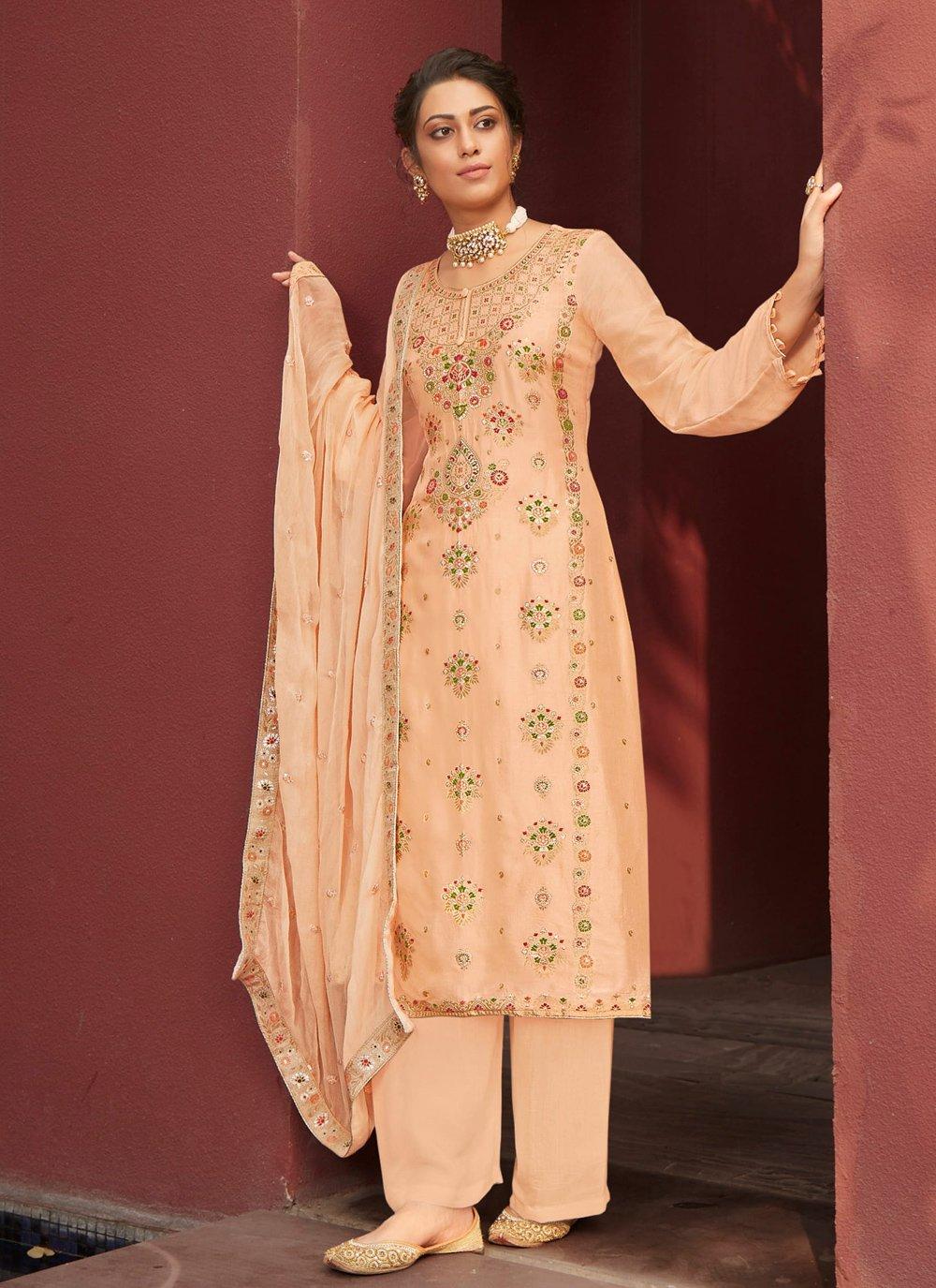 Jacquard Silk Designer Palazzo Suit
