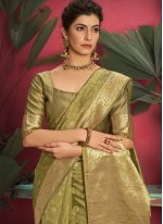 Jacquard Silk Designer Traditional Saree in Green