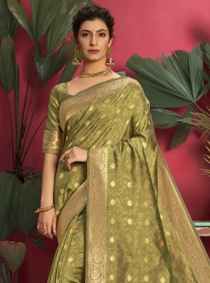 Jacquard Silk Designer Traditional Saree in Green