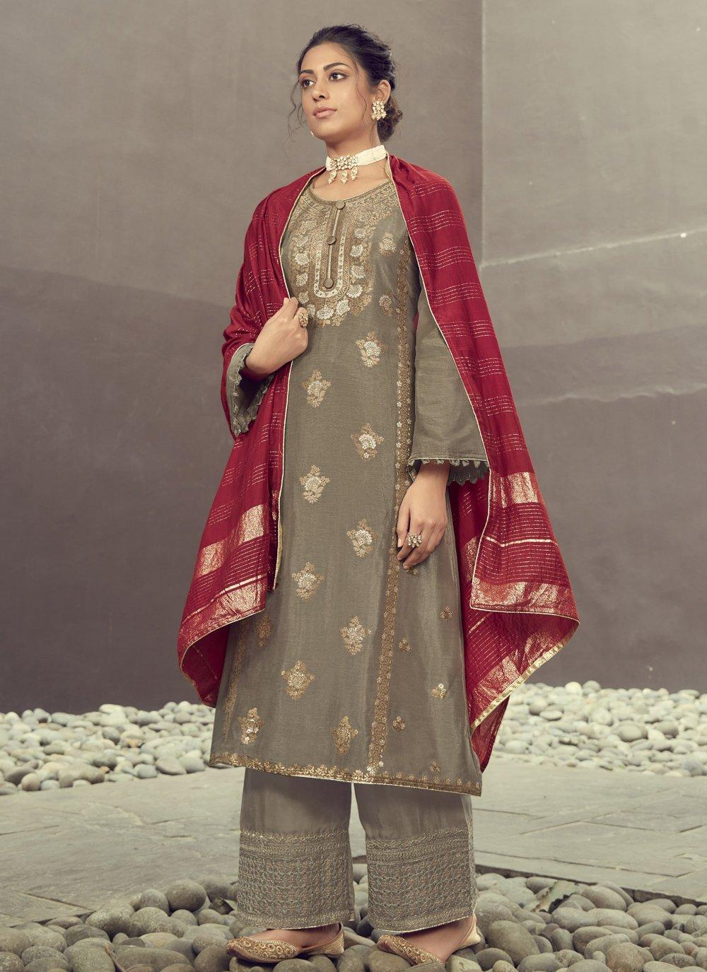 Jacquard Silk Embroidered Designer Palazzo Salwar Kameez