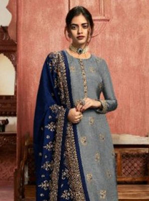Jacquard Silk Embroidered Grey Pant Style Suit