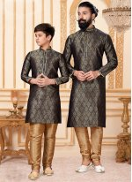 Jacquard Silk Embroidered Kurta Pyjama in Black