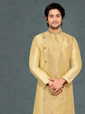 Jacquard Silk Embroidered Kurta Pyjama in Cream