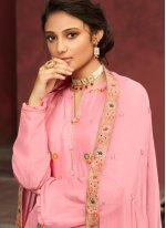 Jacquard Silk Embroidered Pink Designer Palazzo Suit
