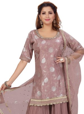 Jacquard Silk Fancy Lavender Designer Palazzo Salwar Kameez