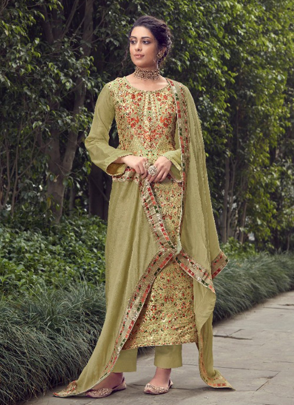 Jacquard Silk Green Designer Pakistani Suit
