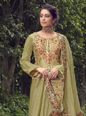 Jacquard Silk Green Designer Pakistani Suit