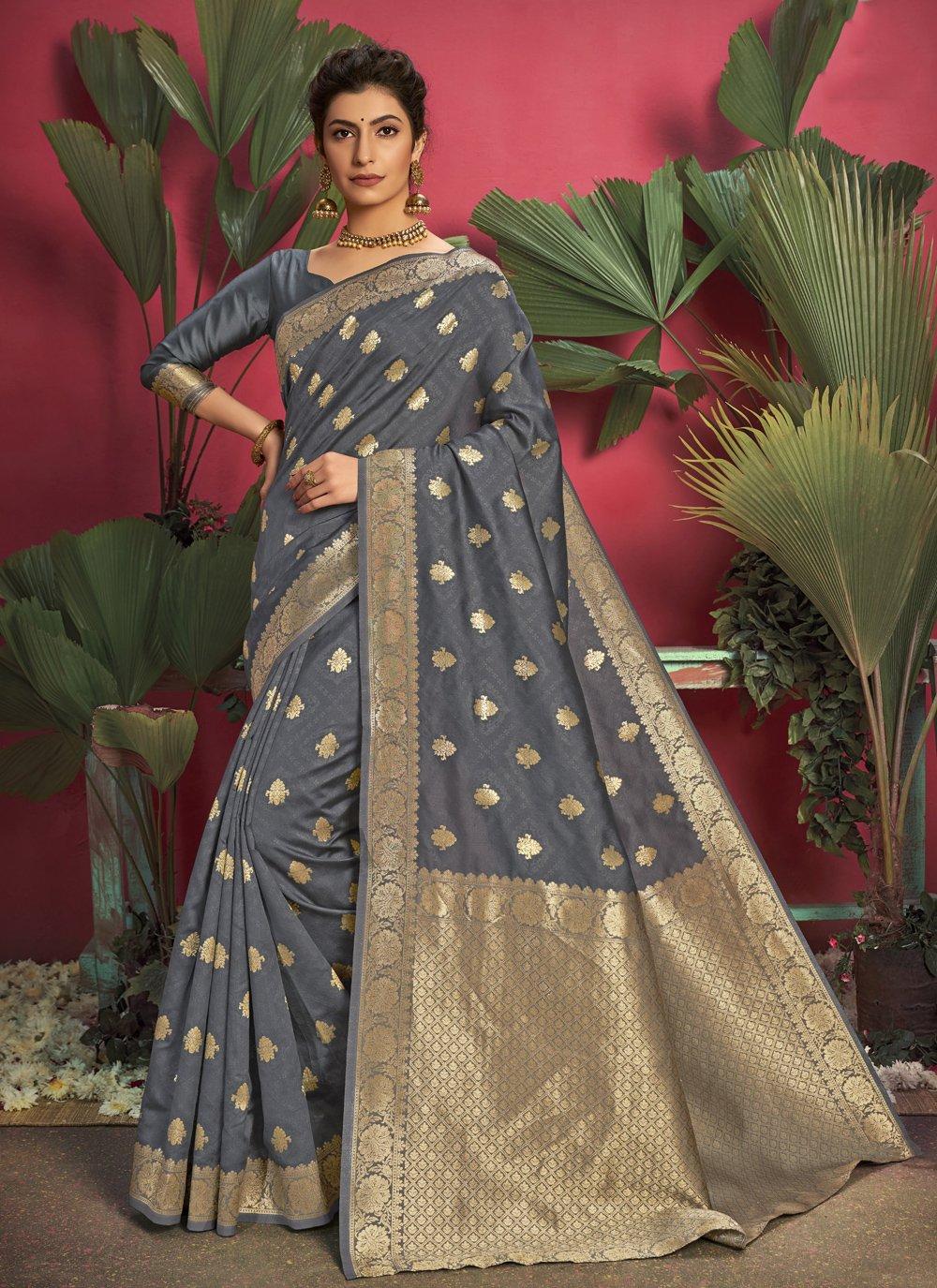 Jacquard Silk Grey Weaving Traditional Saree