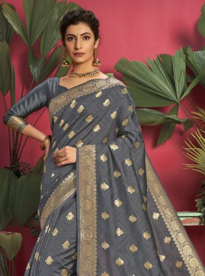 Jacquard Silk Grey Weaving Traditional Saree