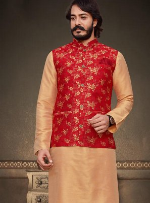 Jacquard Silk Kurta Payjama With Jacket in Beige and Red
