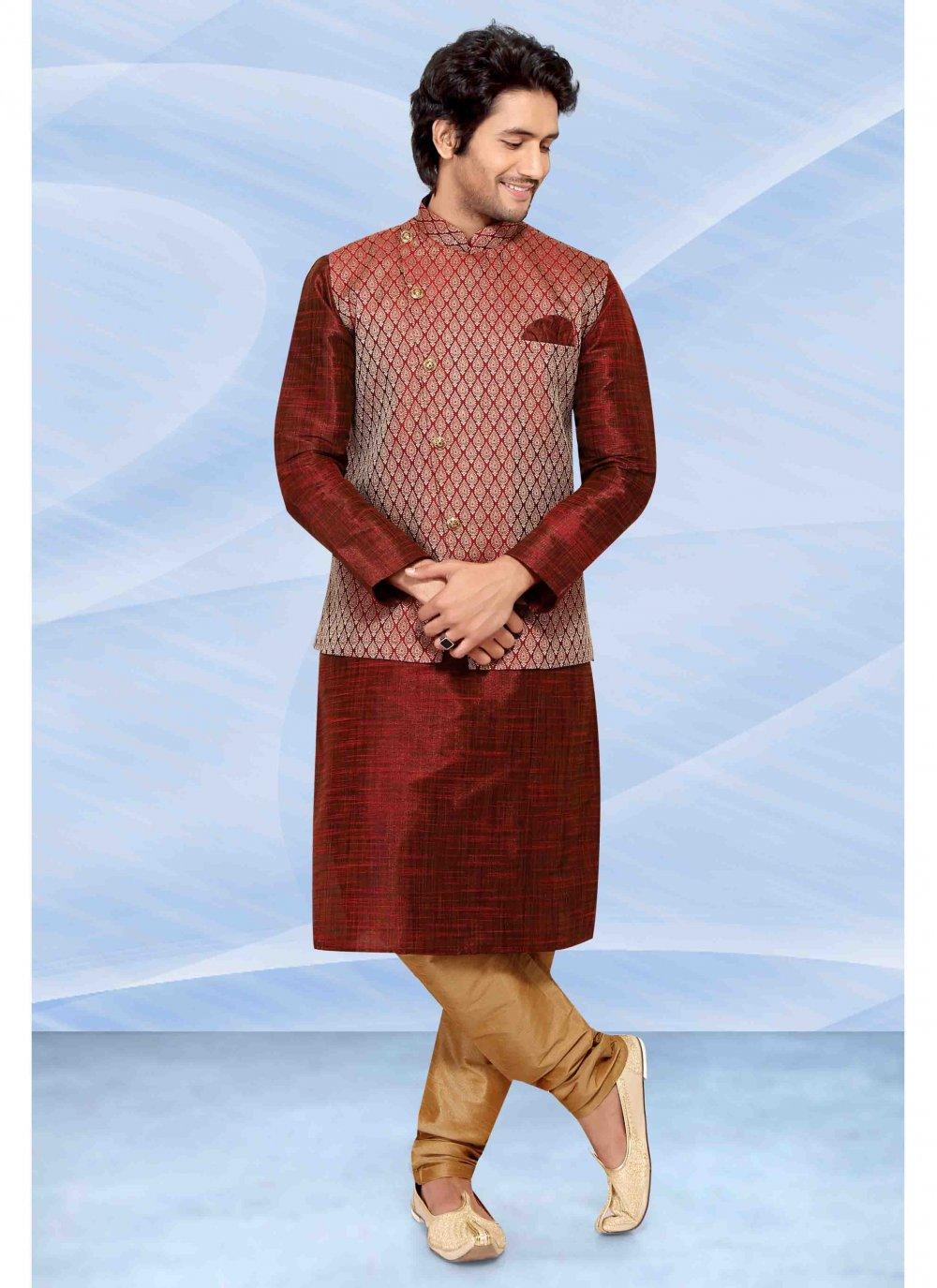 Jacquard Silk Maroon Kurta Payjama With Jacket