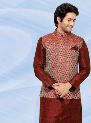 Jacquard Silk Maroon Kurta Payjama With Jacket