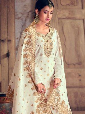 Jacquard Silk Off White Handwork Designer Palazzo Suit