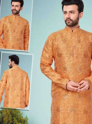 Jacquard Silk Orange Kurta Pyjama