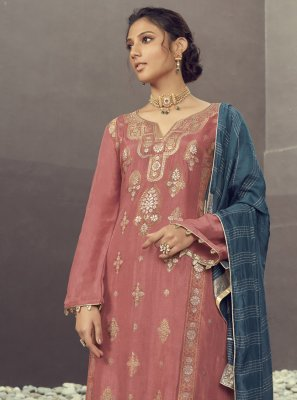 Jacquard Silk Pink Embroidered Designer Palazzo Suit