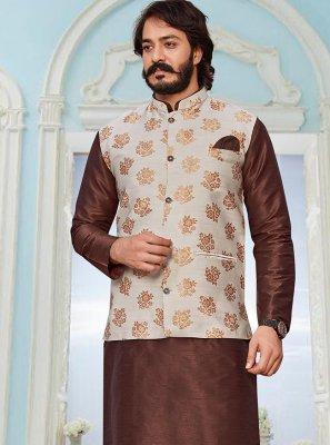 Jacquard Silk Printed Brown and Cream Kurta Payjama With Jacket