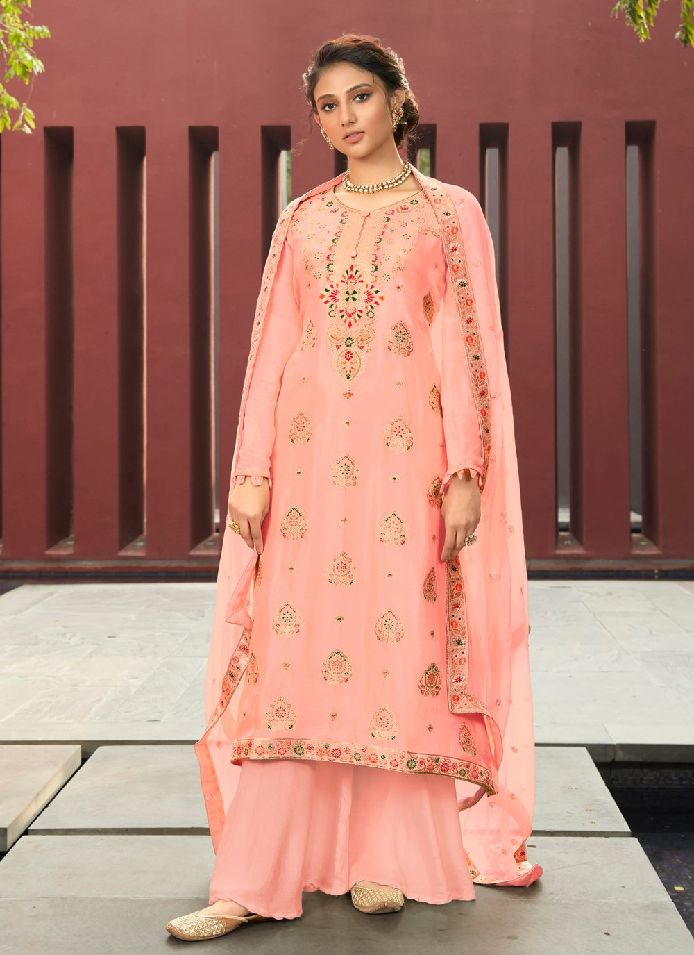 Jacquard Silk Resham Designer Palazzo Suit in Pink